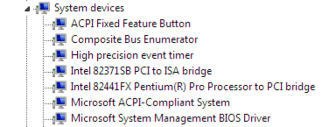 Detail of viewing available system devices from the Computer Management window.