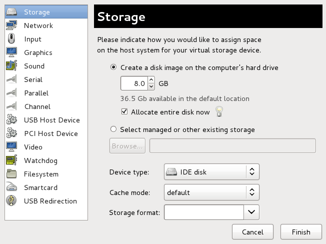 The Add new virtual hardware wizard with Storage selected in the Hardware type field.