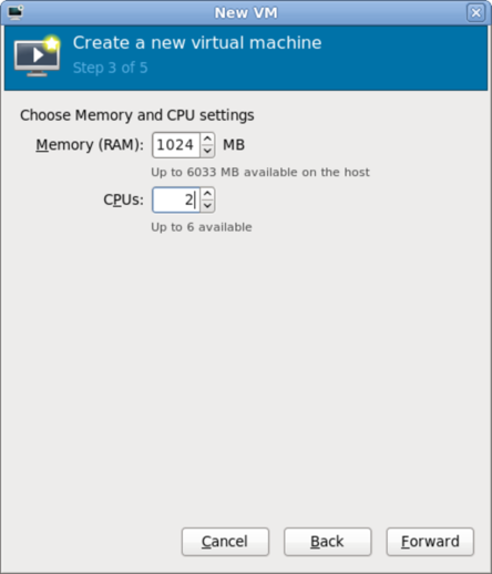 CPU およびメモリーの設定