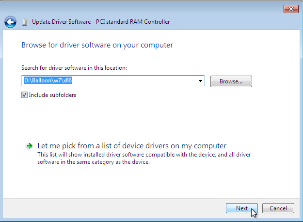 The Update Driver Software wizard, with the specified location to search for driver software selected, with the Browse button on the right, and the Next and Cancel buttons at the bottom right of the window.