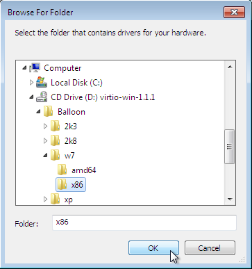 "The Browse For Folder window, which pops up after choosing ""Browse"" to search for driver software on your computer. Select the folder that contains drivers for your hardware from this window."