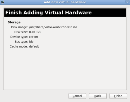 The final screen of the Add new virtual hardware wizard in Red Hat Enterprise Linux 6.1.