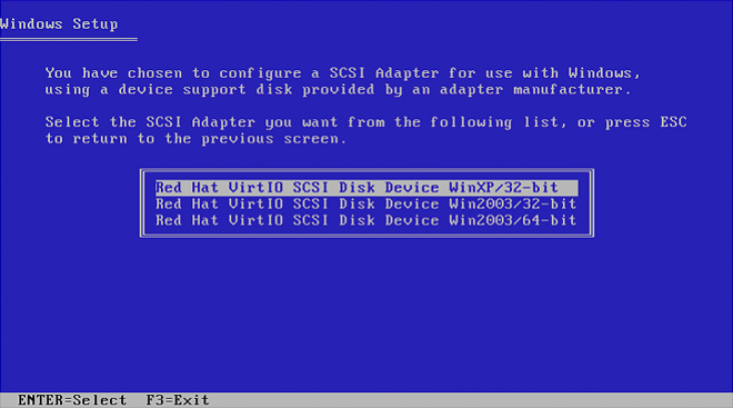 The next Windows blue screen reads Window Setup at the top in plain text and provides options to select the SCSI Adapter to be installed. Options at the bottom of the screen include ENTER to select, or F3 to exit.