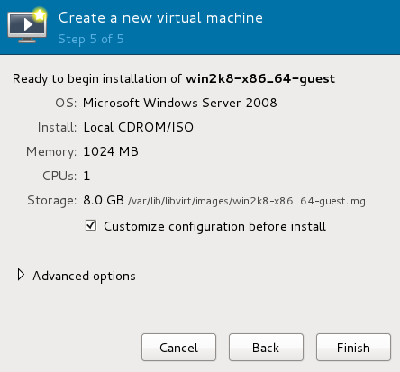 Step 5 of 5 of creating a new virtual machine with virt-manager, with a checkbox selected under Storage to customize configuration before install.