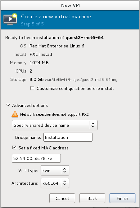 "Step 5 of 5 for creating a new virtual machine with virt-manager reads ""Ready to begin installation of (guest name)"" with a summary of options already chosen, and advanced options to choose from."