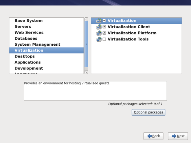 The Red Hat Enterprise Linux package selection screen with Virtualization selected in the left menu.