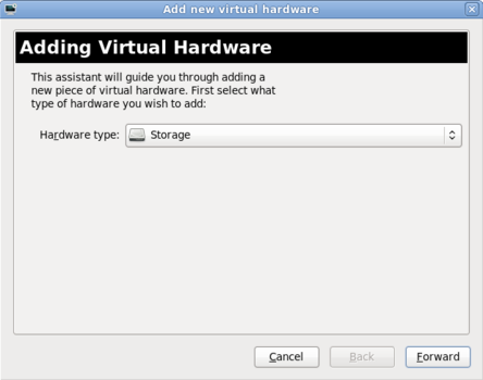 The Add new virtual hardware wizard window in Red Hat Enterprise Linux 6.1 with Storage selected as the hardware type.
