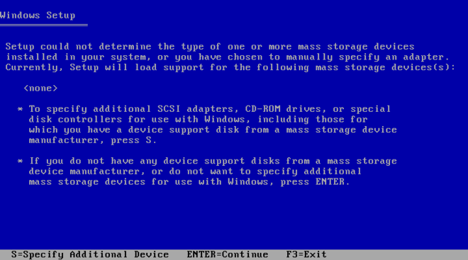 "The next Windows pre-installation blue screen reads Window Setup at the top in plain text and details the option to install an additional device. Options at the bottom of the screen include S to ""Specify Additional Device"", ENTER to continue, or F3 to exit."