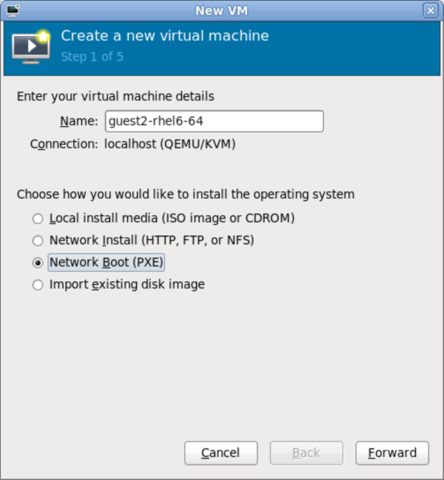 Step 1 of 5 for creating a new virtual machine with virt-manager, with Network Boot (PXE) chosen for the method of installation.
