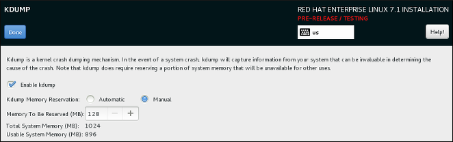 The new Kdump screen