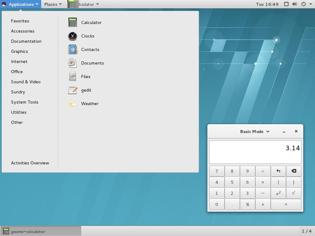 「電卓」アプリケーションおよび「アプリケーション」メニューに「アクセサリ」サブメニューのある GNOME クラシック