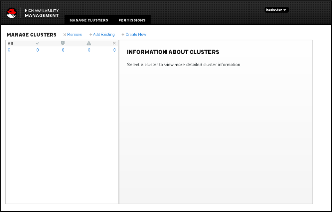 Manage Clusters page