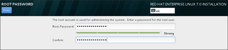 Bildschirm zur Konfiguration des Root-Passworts