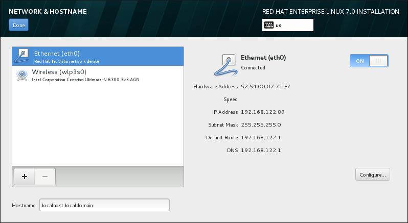 Bildschirm zur Konfiguration von Netzwerk & Hostname