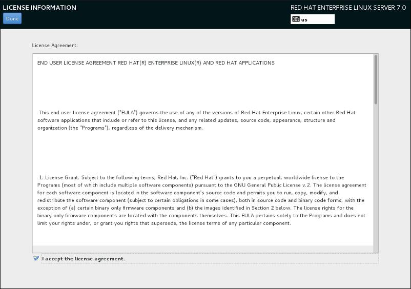 Bildschirm für Lizenzinformationen