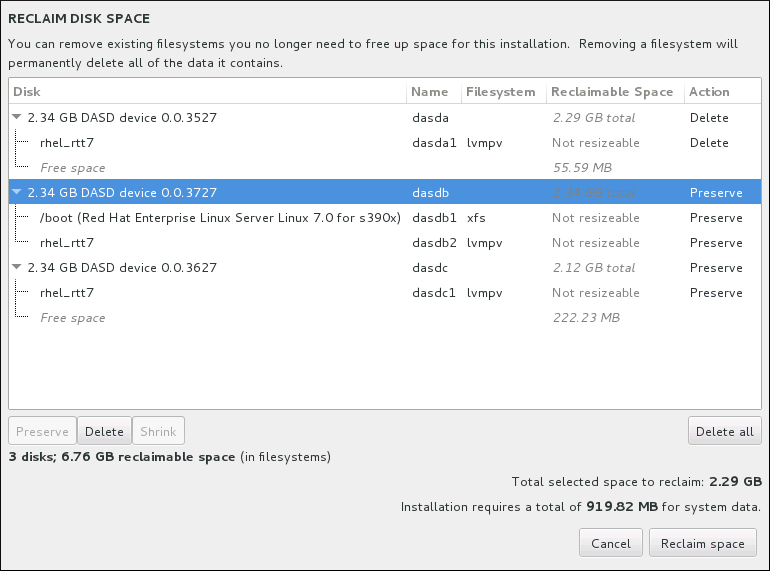 Reclaim Disk Space from Existing File Systems