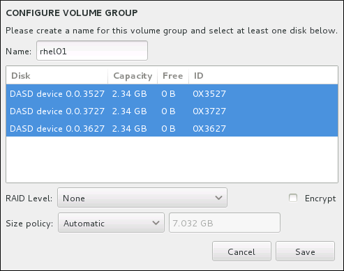 Customizing an LVM Volume Group