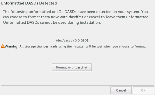 Dialog for Formatting DASD Devices