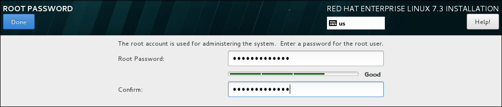 Root Password Screen