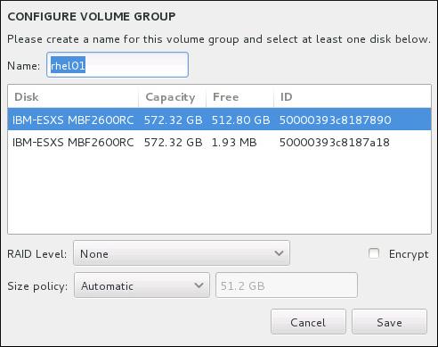 Customizing an LVM Volume Group