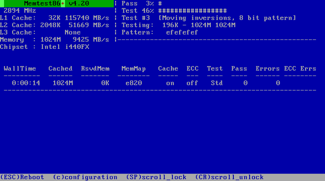 Comprobación de memoria con Memtest86+