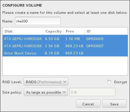 Personalización de un volumen Brtfs