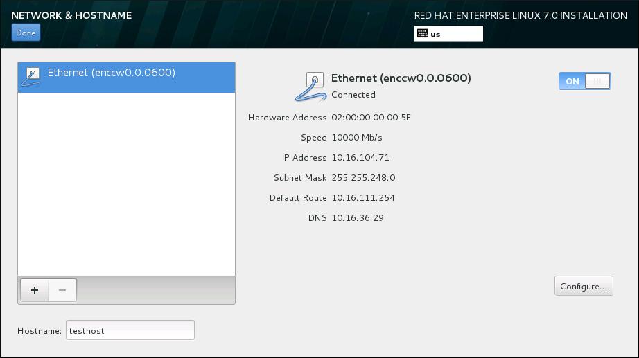 Pantalla Configuración de red y nombre de host