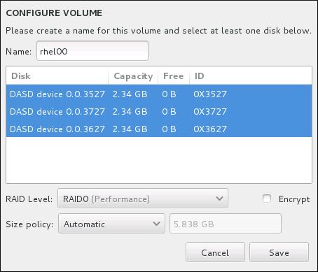 Personalizar un volumen Brtfs