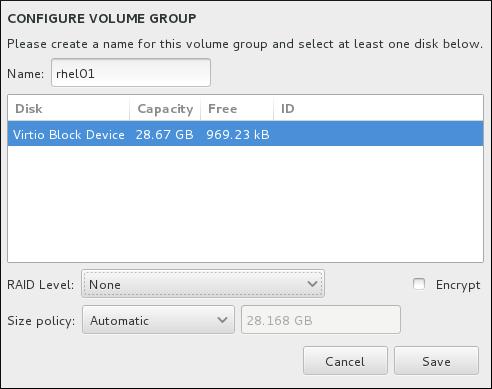 Cómo personalizar un grupo de volumen LVM
