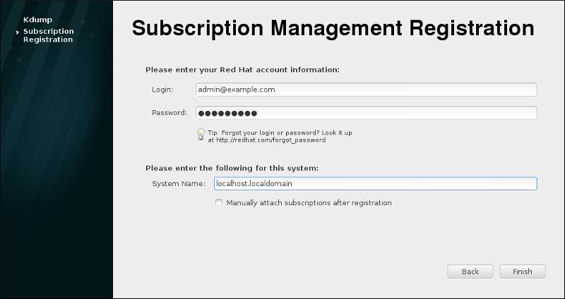 Registro de administración de suscripciones