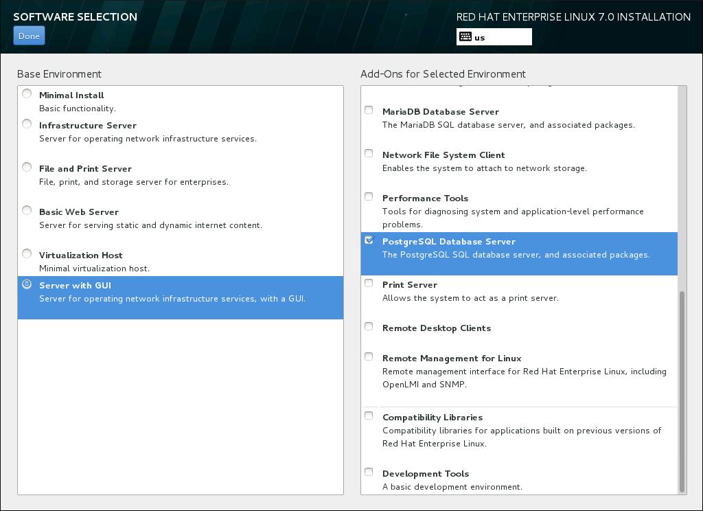 Ejemplo de una selección de software para la instalación de un servidor