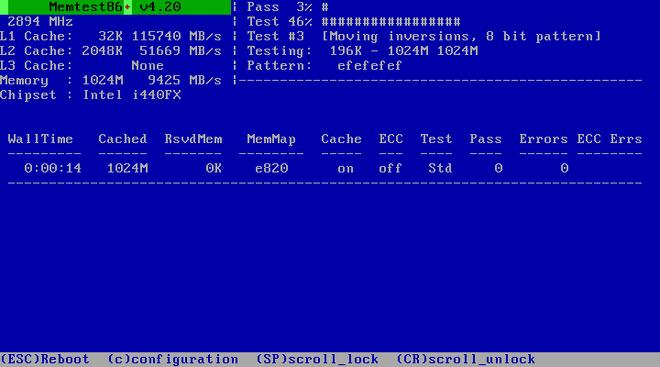 Vérification de mémoire avec Memtest86+