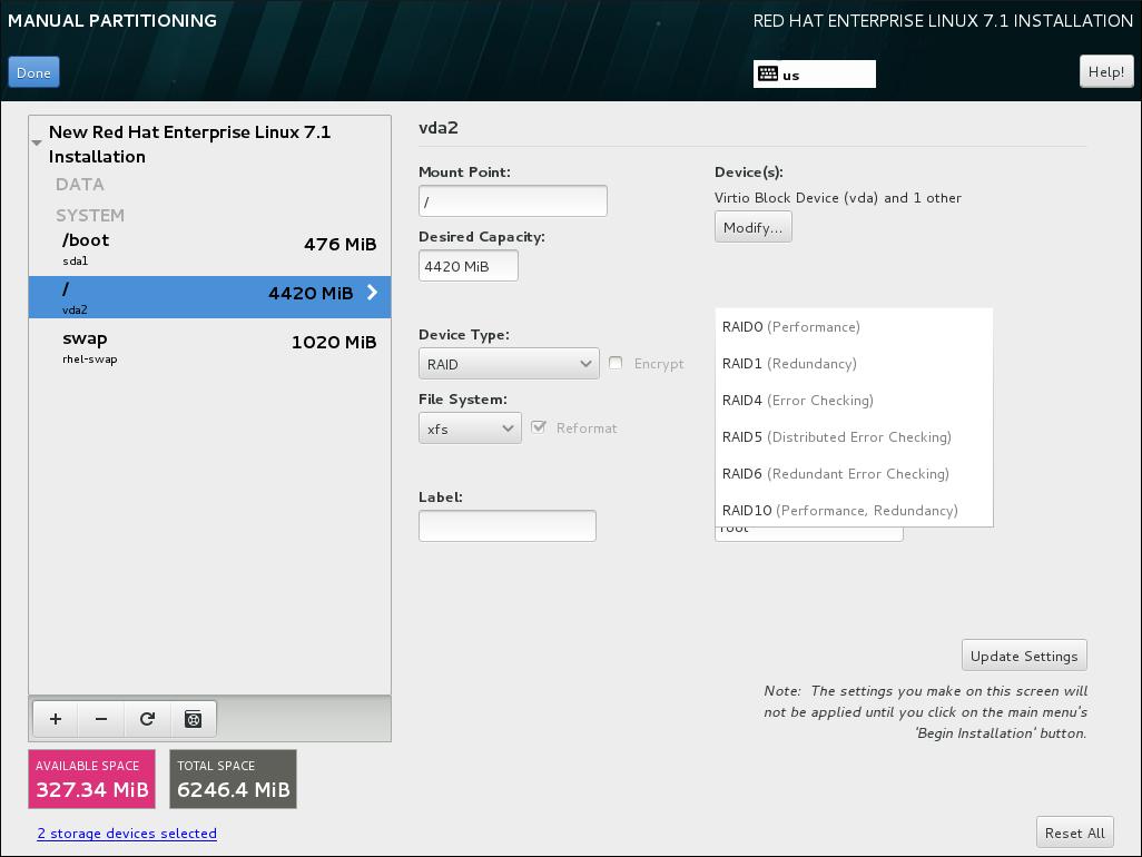 ソフトウェア RAID パーティションの作成 - デバイスタイプ メニューを展開した例