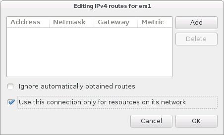 IPv4 ルートの設定