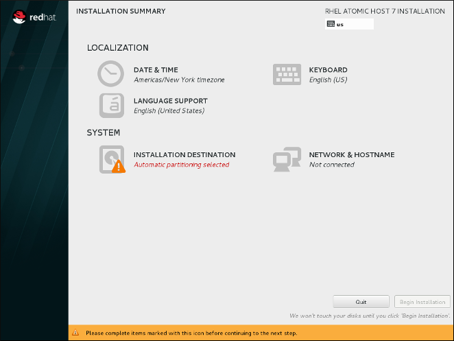 RedHat EnterpriseLinux AtomicHost の インストールの概要 画面
