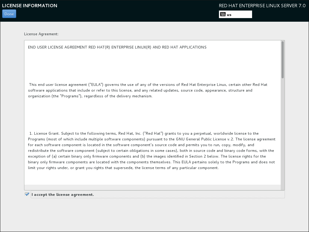 ライセンス契約条件の画面