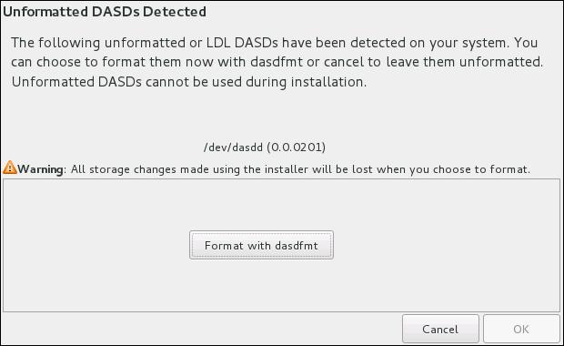 DASD デバイスフォーマットのダイアログ