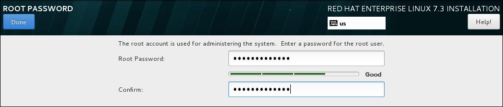 Root パスワード画面