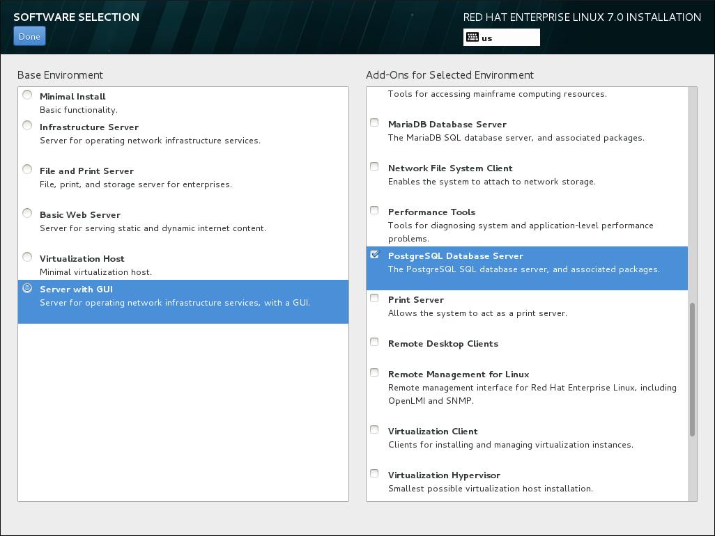 サーバーインストールでのソフトウェア選択の例