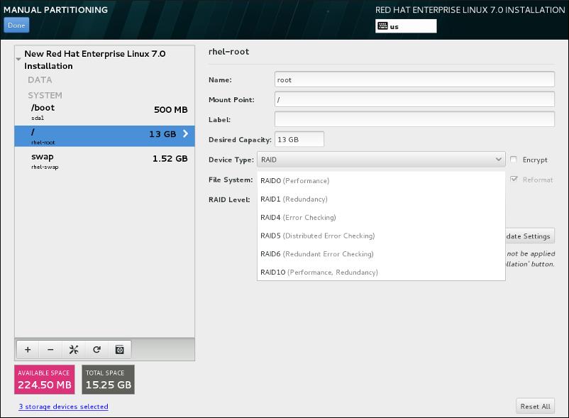 소프트웨어 RAID 파티션 생성 – 장치 유형 메뉴 확장