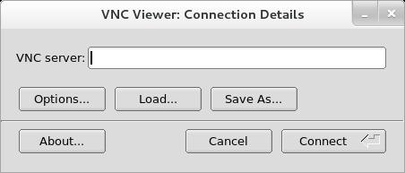 Detalhes da conexão do TigerVNC