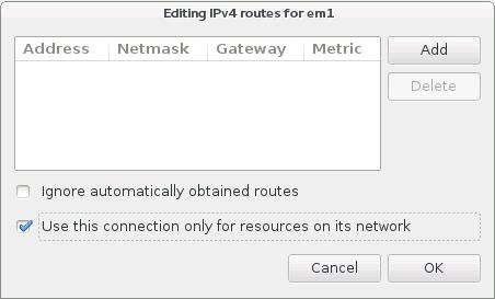Окно маршрутов IPv4