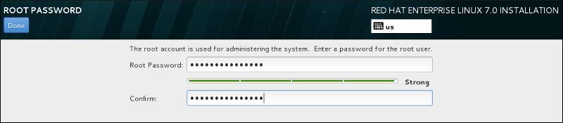 Окно пароля root