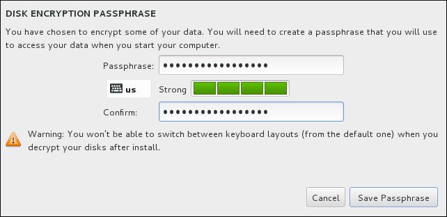 Ввод парольной фразы для доступа к разделу