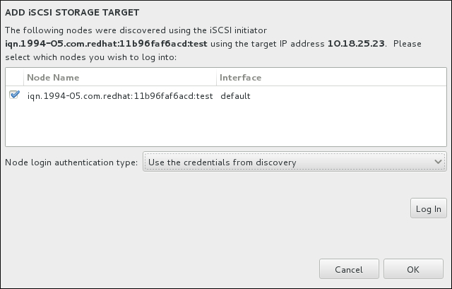 找到的 iSCSI 节点对话框