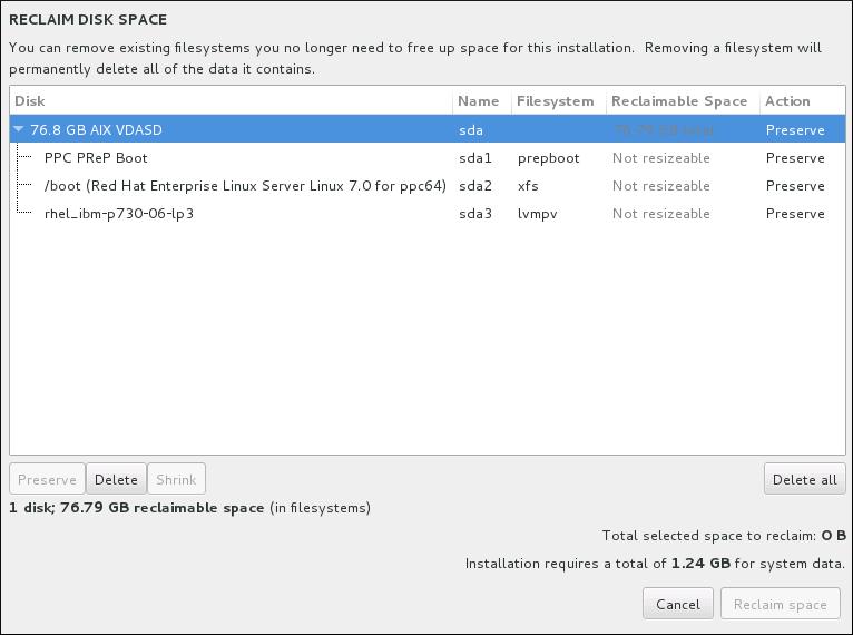 从现有文件系统中回收磁盘空间