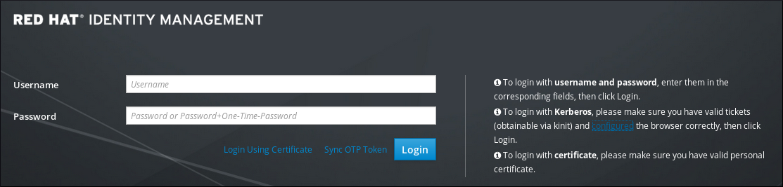 Web UI Login Screen