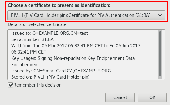 Selecting the smart card certificate
