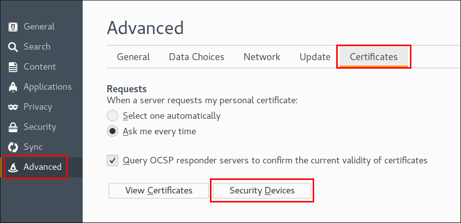 Configuring security devices in Firefox