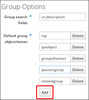 Group Options in Server Configuration